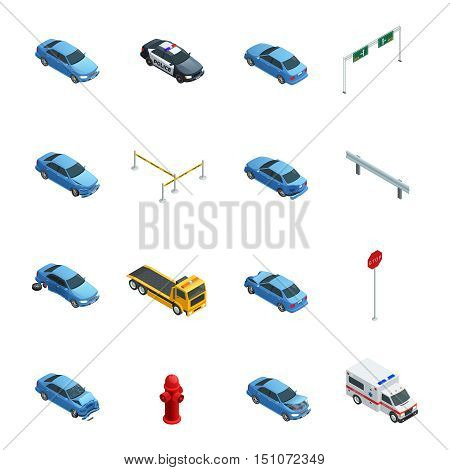 Colorful car accidents isometric icons set with evacuator police ambulance and road sign isolated on white background vector illustration