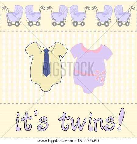 vector for baby shower or birthday invitation card. two bodysuits newborn twins. twins inscription.