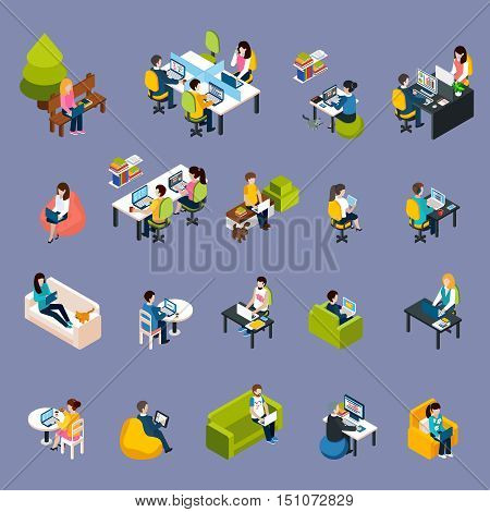 Coworking freelance people isometric icons set with work symbols isolated vector illustration