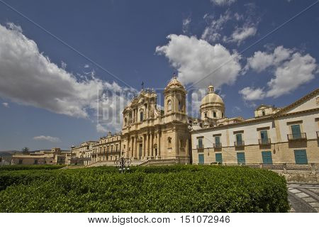 view from the Cathedral of St. Nicholas and rebuilt the palace Ducezio city hall of Noto