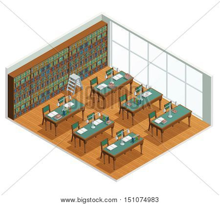 Isometric interior for bookstore and library reading hall with bookcases and tables with opened books vector illustration