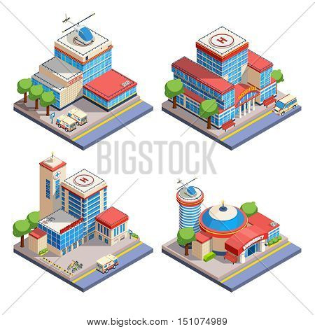Modern hospital buildings with helicopter pads and emergency transport isometric icons set on white background isolated vector illustration