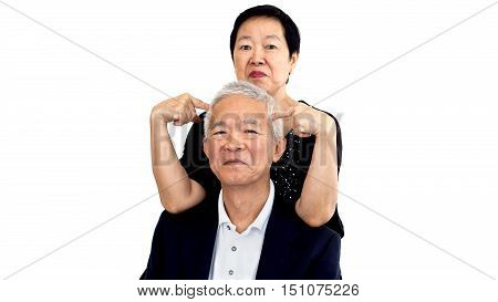 Asian Senior Couple Playing Teasing. Woman And Man Long Relationship Concept