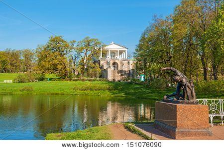 Cameron Gallery - monument of architecture in city Catherine Park Pushkin, near St. Petersburg. Built in 1787 by architect Cameron. Russia, Saint-Petersburg, Tsarskoye Selo. May 9, 2016