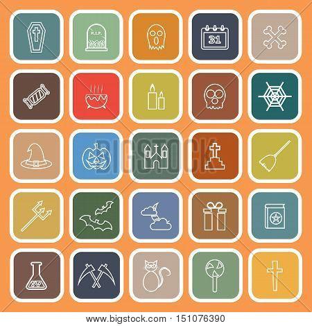 Halloween line flat icons on orange background, stock vector