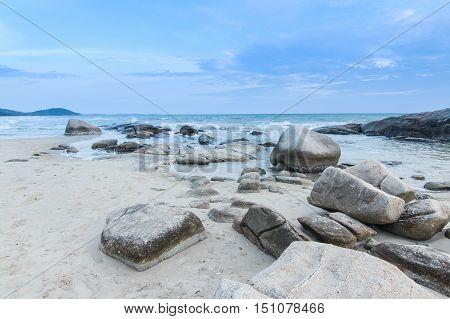 Mae Rumphueng Beach blue sky background in Rayong Thailand