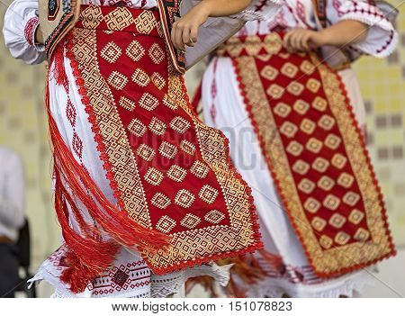 Detail of traditional Romanian folk costumes for women specific on Banat area.