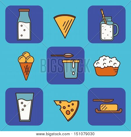 Dairy icons set in line style design, vector illustration. Milk products symbols on color background. Traditional healthy products. Organic milk farming. Natural food