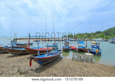 Group of Local fishing boats in Rayong Thailand
