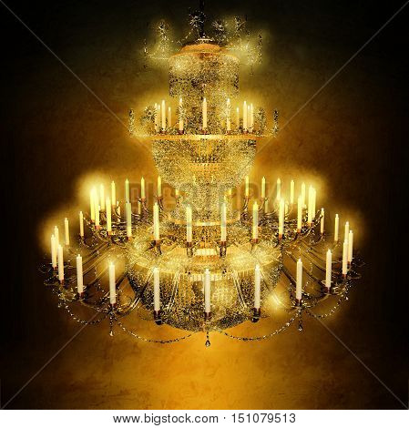 Chandelier crystal candles  is located on a dark brown background. 3D illustration