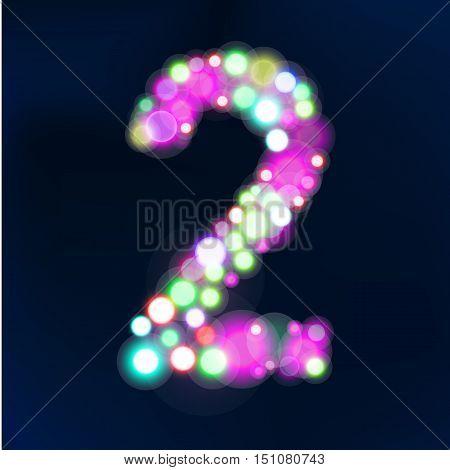 Number from bokeh lights. Made of light. Vector illustration