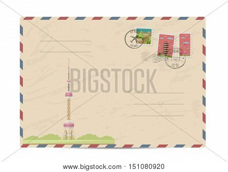 China vintage postal envelope with postage stamps and postmark vector illustration. Chinese television tower. Chinese air mail stamp. Chinese postal services. Envelope delivery. Travel on China concept. Explore china. Greetings from China concept