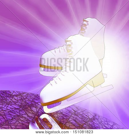 Figure skating. Tilted lilac version ice skates with reflection. 3D illustration