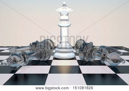 Your performance queen! The chess queen costs on a chessboard. Other figures lie on a chessboard. 3D illustration