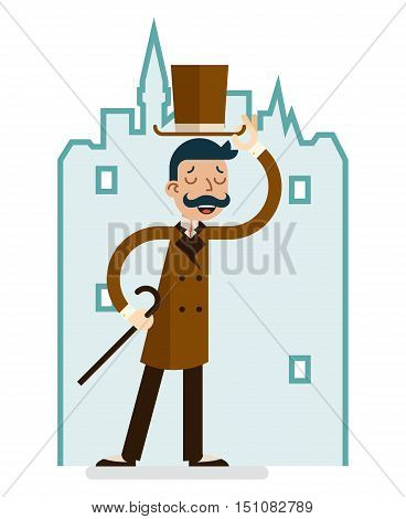 Greeting Great Britain Victorian Gentleman Businessman Character English City Background Flat Vector Illustration