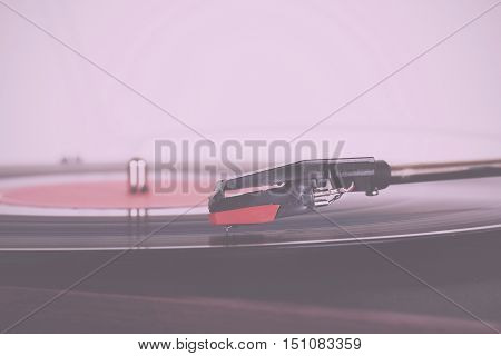 Close Up Of A Retro Record Player Vintage Retro Filter.