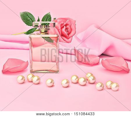 Perfume bottle and flower rose petals and pearls on pink silk. 3D illustration