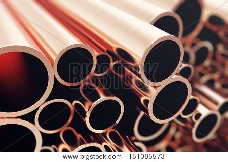 Industry business production and heavy metallurgical industrial products, many shiny steel pipes, industrial background, manufacturing business production concept, copper pipes with selective focus effect. 3D illustration.