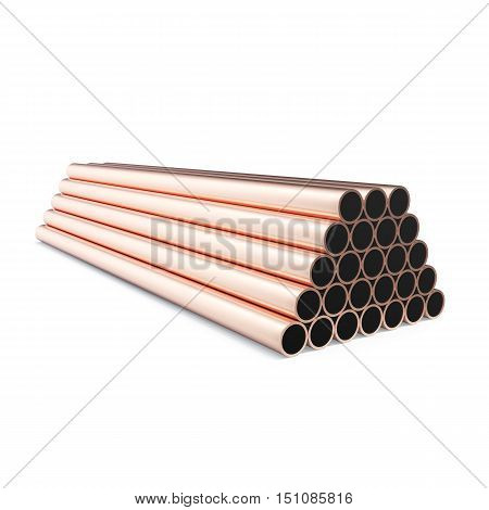 Copper pipes isolated on white background. 3d rendering.