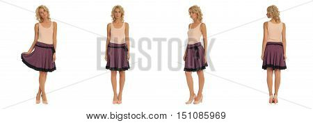 Fashion Model Dressed In Burgundy Skirt Isolated On White