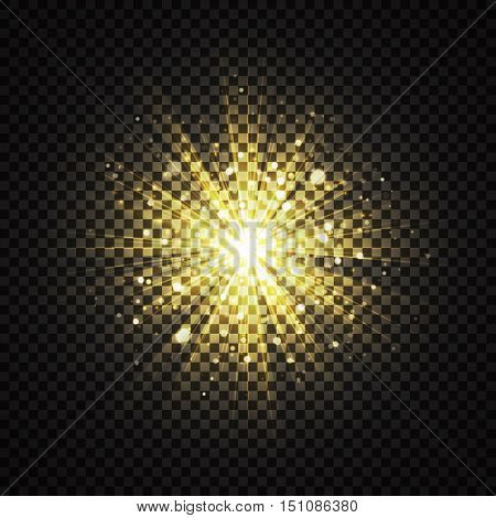 Transparent yellow glowing light glitter background effect. Magic glow sparkling star dust. Explosion with sparks on dark backdrop. Vector Illustration.