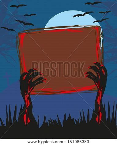 zombie hands coming out of grave card , vector illustration