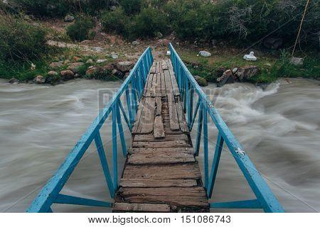 Small bridge in high mountains alps Austria