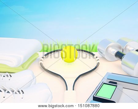 Fitness and sports equipment. Tennis racket, tennis ball, dumbbells, scales electronic, sports shoes, towels. 3D illustration