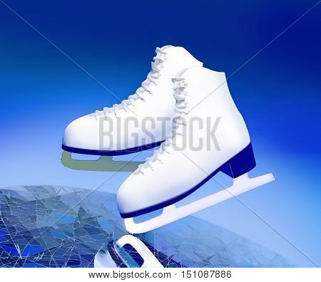 Figure skating. The skates for figure skating are located on ice. 3D illustration