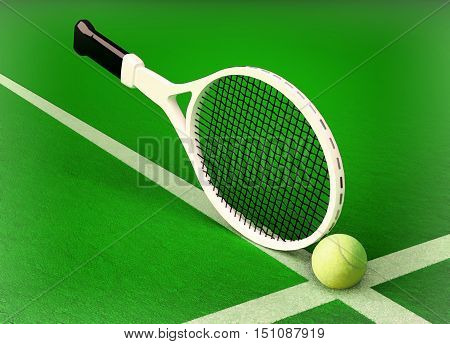 The tennis racket and tennis ball are located on the tennis court. 3D illustration