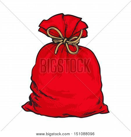 Red Santa Claus bag full of presents, sketch style vector illustration isolated on white background. Traditional red Christmas sack, decoration element