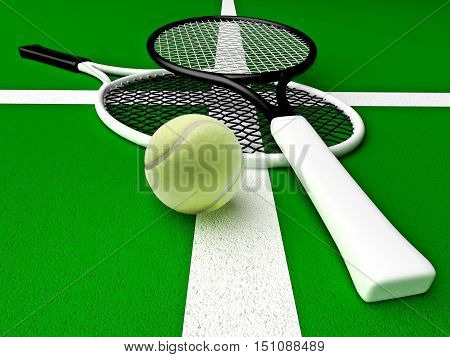 Tennis rackets and tennis ball are located on the tennis court. 3D illustration