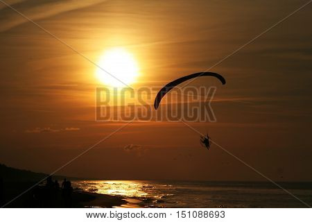 Paraglider Over The Sea At Sunset 2