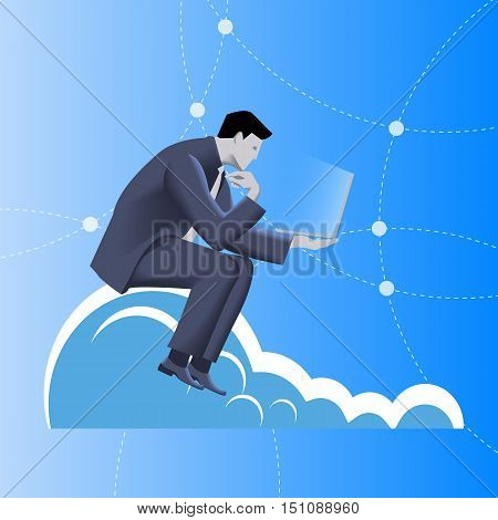 Cloud business concept. Pensive businessman in business suit with notepad in his hand sitting on the cloud and watching on the glowing notepad screen. Business in web, thinking, planning concept