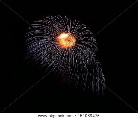 Blue fireworks isolated in dark background close up with the place for text, Malta fireworks festival, 4 of July, Independence day, New Year, explode. Maltese shell