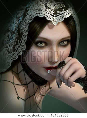 3d computer graphics of a portrait of a lady with black gem ring and a veil of lace on her head
