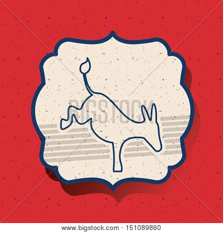 donkey inside frame icon. Vote election nation and government theme. Silhouette design. Vector illustration