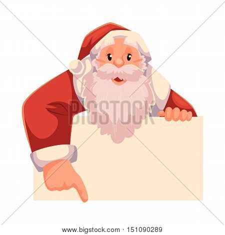 Santa Claus pointing to something, cartoon style vector illustration isolated on white background. Half length portrait of Santa looking from behind the wall and showing something, Christmas template