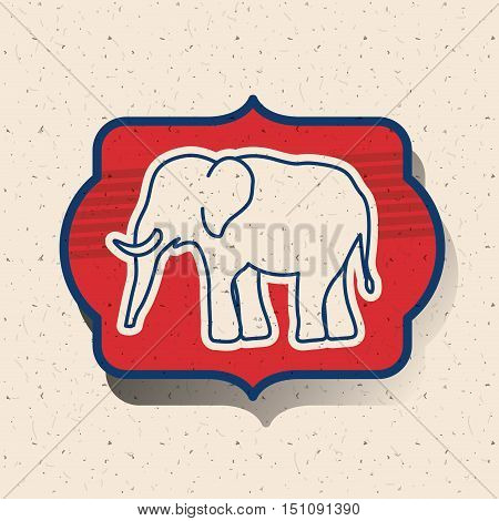 Elephant inside frame icon. Vote election nation and government theme. Silhouette design. Vector illustration