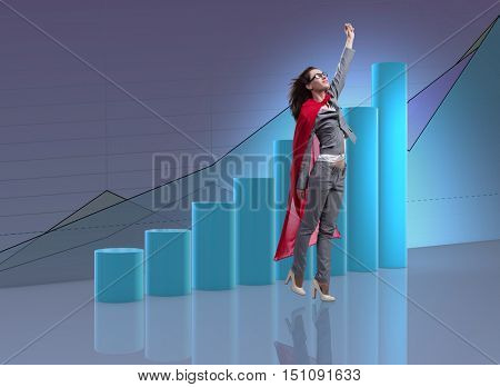 Woman in red cover in business concept