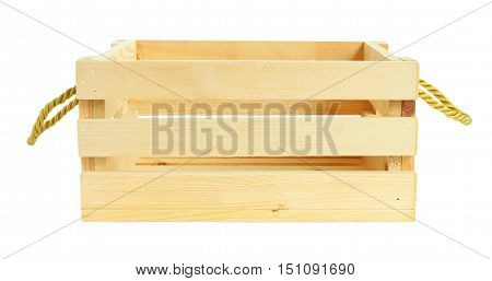 Front View Wooden Crate isolated on white background