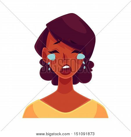 Pretty African girl, crying facial expression, cartoon vector illustrations isolated on white background. Black woman crying, shedding tears, sad, heart broken, in grief. Angry face expression