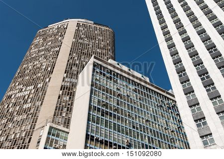 Sao Paulo, Brazil - June 26, 2016: Italy Building in downtown of Sao Paulo. It is one of the tallest buildings in the city, and is also famous because of the restaurant on the top floor.