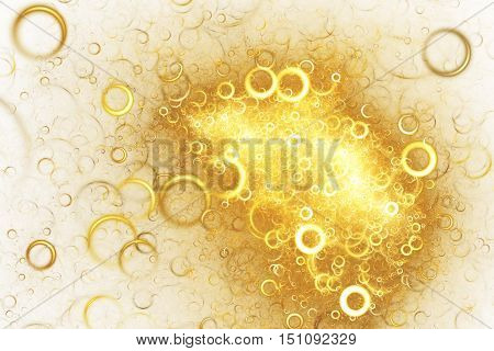 Abstract colorful smoky rings on white background. Fantasy golden fractal texture for postcards or t-shirts. Digital art. 3D rendering.