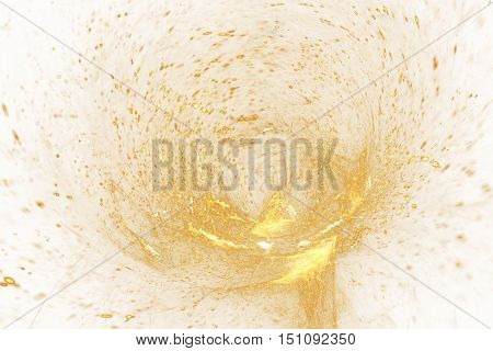 Golden splash. Abstract colorful yellow sparks on white background. Fantasy fractal texture for posters postcards or t-shirts.