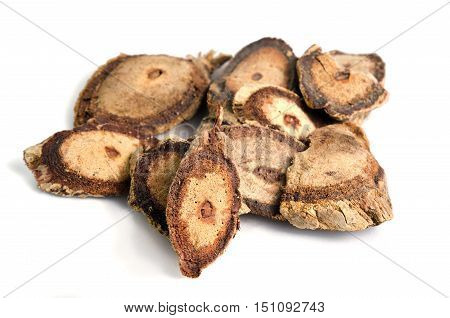 Butea Superba Roxb Or Red Kwao Krua Tuber Root Isolated On White Background