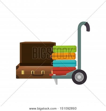 travel suitcase and handcart with baggage icon over white background. vector illustration