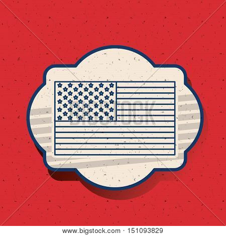 Flag inside frame icon. Vote election nation and government theme. Silhouette design. Vector illustration
