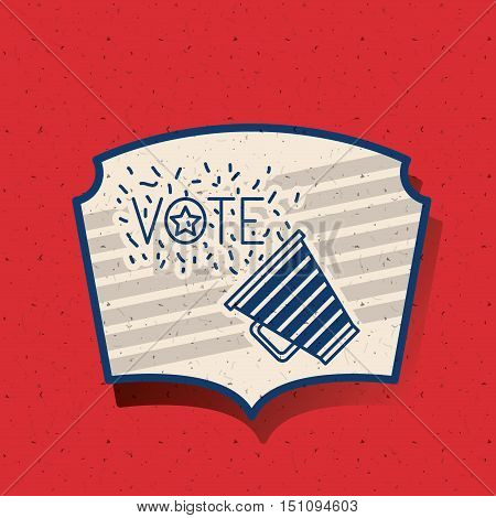 Megaphone inside frame icon. Vote election nation and government theme. Silhouette design. Vector illustration