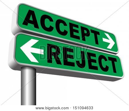 accept reject approve or decline and refuse offer proposal or invitation, yes or no 3D illustration